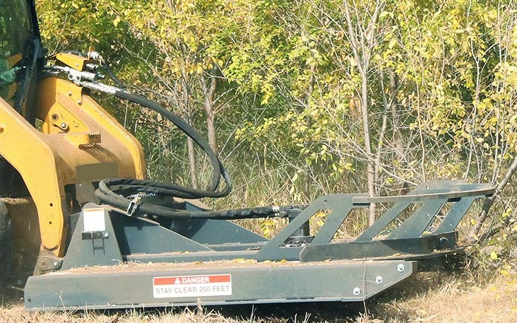 Close up of the Virnig V50 Open Front Brush Cutter, featuring its hydraulic system.